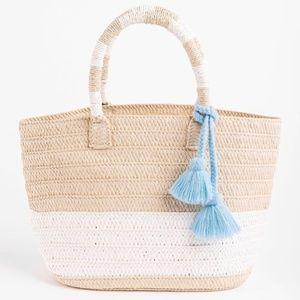 NWT Altru Straw Woven Tote Tassel Bag